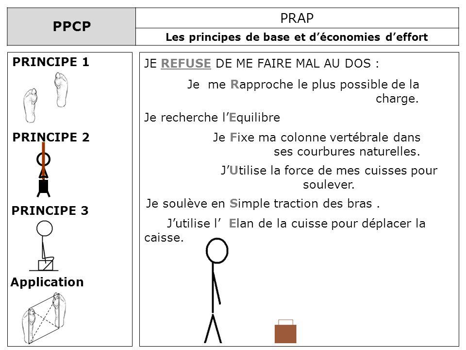 PPCP PRAP Les principes de base et déconomies deffort PRINCIPE 1 PRINCIPE 2 PRINCIPE 3 Application Jutilise l Elan de la cuisse pour déplacer la caiss