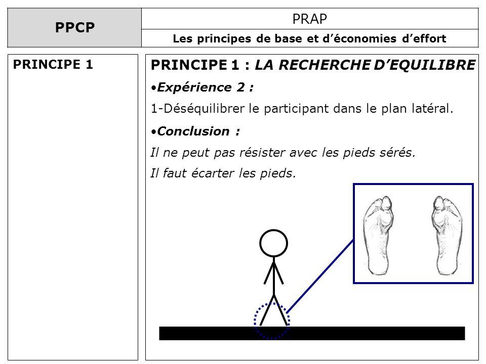 PPCP PRAP Les principes de base et déconomies deffort PRINCIPE 1 : LA RECHERCHE DEQUILIBRE Expérience 2 : 1-Déséquilibrer le participant dans le plan