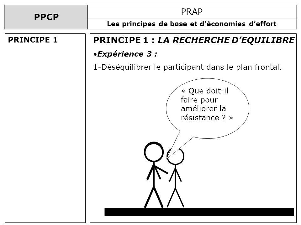 PPCP PRAP Les principes de base et déconomies deffort PRINCIPE 1 : LA RECHERCHE DEQUILIBRE Expérience 3 : 1-Déséquilibrer le participant dans le plan