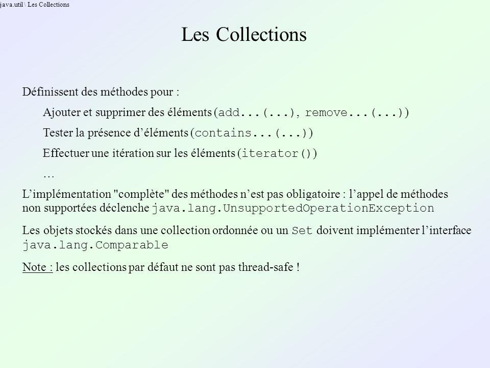 java.util \ Les Collections Les Collections Définissent des méthodes pour : Ajouter et supprimer des éléments ( add...(...), remove...(...) ) Tester l