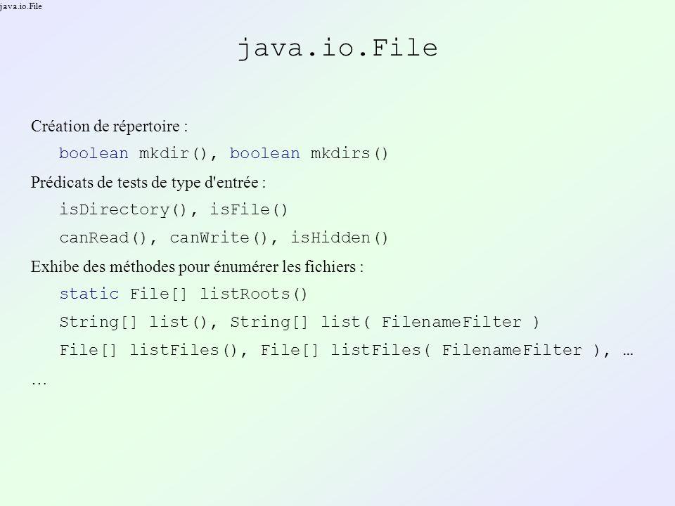 java.io.File Création de répertoire : boolean mkdir(), boolean mkdirs() Prédicats de tests de type d entrée : isDirectory(), isFile() canRead(), canWrite(), isHidden() Exhibe des méthodes pour énumérer les fichiers : static File[] listRoots() String[] list(), String[] list( FilenameFilter ) File[] listFiles(), File[] listFiles( FilenameFilter ), … …