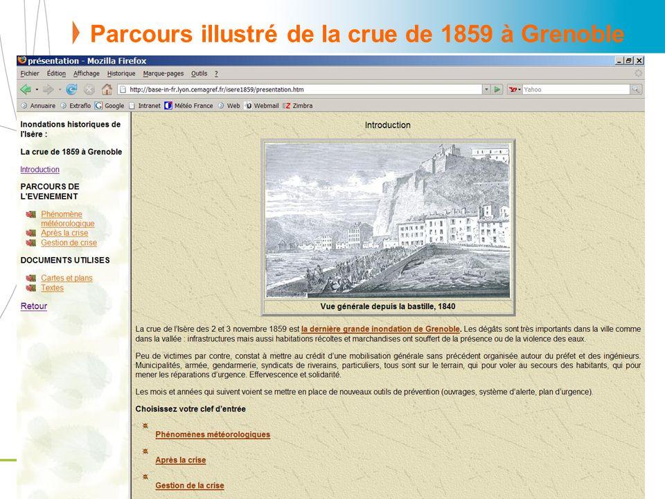 Parcours illustré de la crue de 1859 à Grenoble