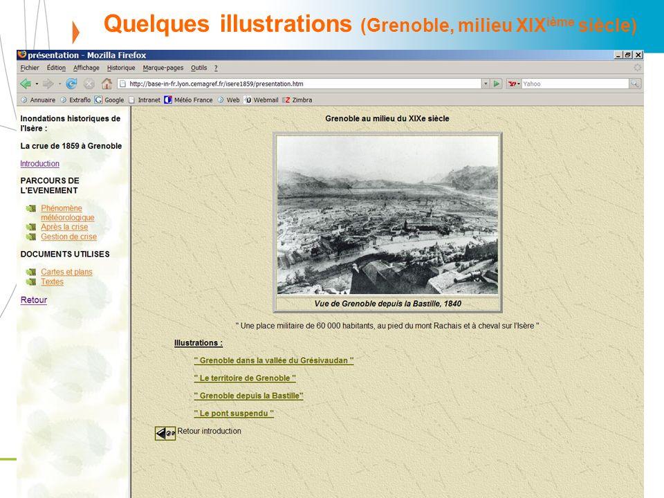 Base-In : http://base-in-fr.lyon.cemagref.fr/http://base-in-fr.lyon.cemagref.fr/ 150ème anniversaire de la crue de 1859, Grenoble, 5 novembre 2009 Quelques illustrations (Grenoble, milieu XIX ième siècle)