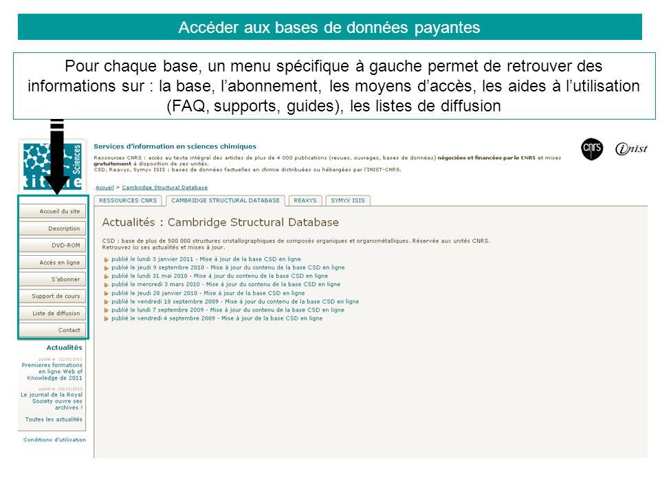 Accéder aux bases de données payantes Pour chaque base, un menu spécifique à gauche permet de retrouver des informations sur : la base, labonnement, l
