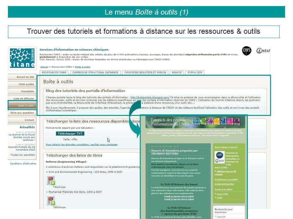 Trouver des tutoriels et formations à distance sur les ressources & outils Le menu Boîte à outils (1)