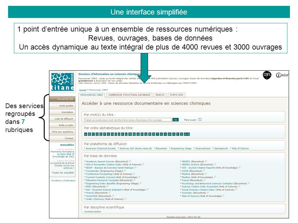 Des services regroupés dans 7 rubriques 1 point dentrée unique à un ensemble de ressources numériques : Revues, ouvrages, bases de données Un accès dynamique au texte intégral de plus de 4000 revues et 3000 ouvrages Une interface simplifiée