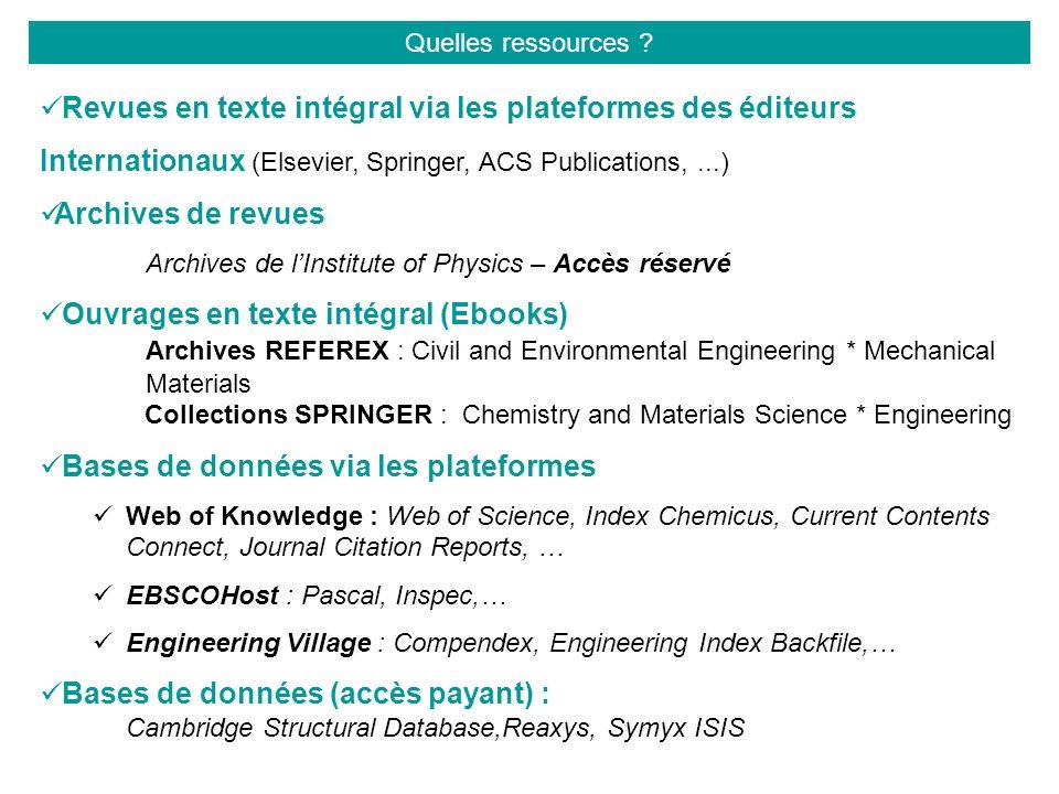 Revues en texte intégral via les plateformes des éditeurs Internationaux (Elsevier, Springer, ACS Publications,...) Archives de revues Archives de lIn