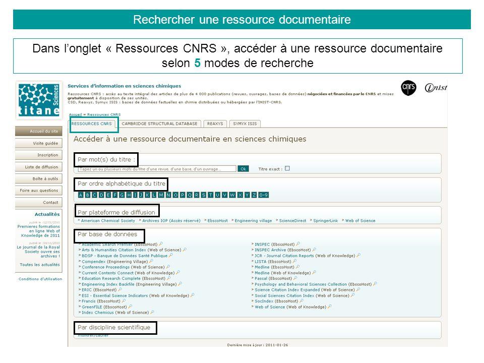 Rechercher une ressource documentaire Dans longlet « Ressources CNRS », accéder à une ressource documentaire selon 5 modes de recherche
