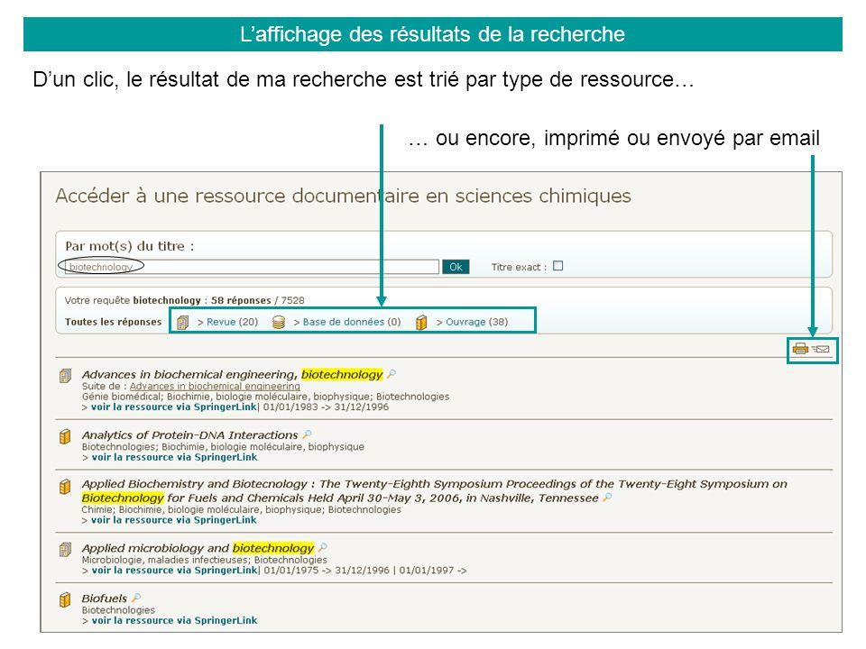 Laffichage des résultats de la recherche Dun clic, le résultat de ma recherche est trié par type de ressource… … ou encore, imprimé ou envoyé par email