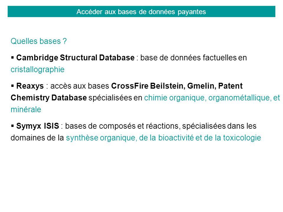 Accéder aux bases de données payantes Quelles bases ? Cambridge Structural Database : base de données factuelles en cristallographie Reaxys : accès au