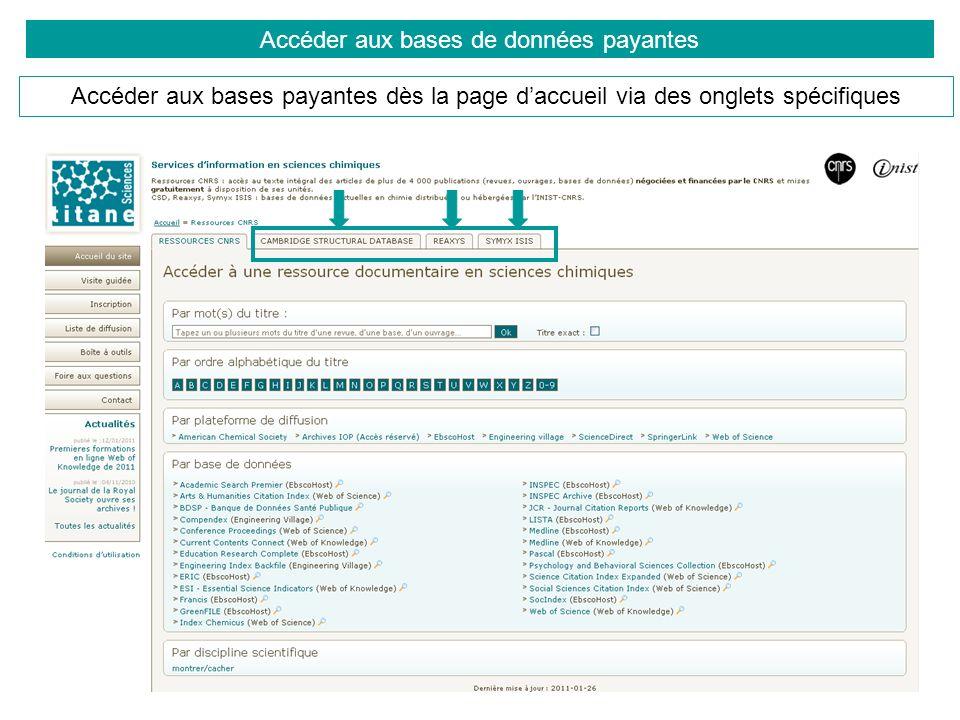 Accéder aux bases de données payantes Pour chaque base, un menu spécifique à gauche permet de retrouver des informations sur : la base, labonnement, les moyens daccès, les aides à lutilisation (FAQ, supports, guides), les listes de diffusion