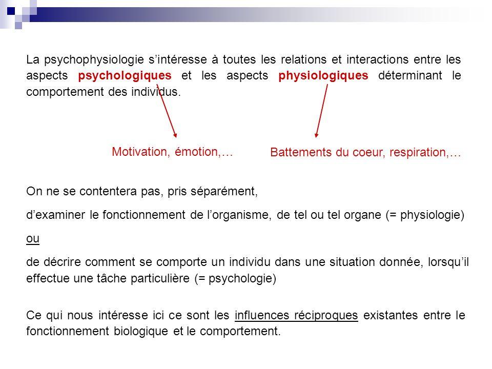 La psychophysiologie sintéresse à toutes les relations et interactions entre les aspects psychologiques et les aspects physiologiques déterminant le comportement des individus.