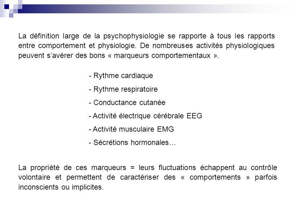 La définition large de la psychophysiologie se rapporte à tous les rapports entre comportement et physiologie.