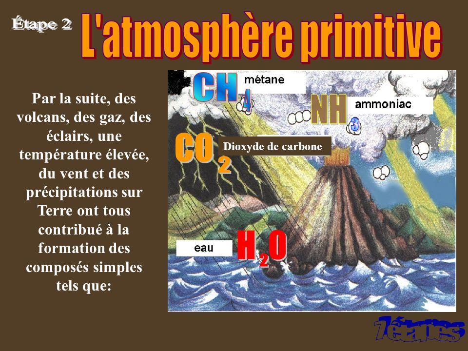Dioxyde de carbone Par la suite, des volcans, des gaz, des éclairs, une température élevée, du vent et des précipitations sur Terre ont tous contribué
