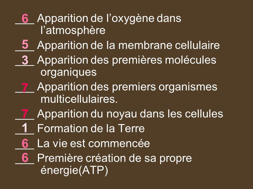 ___ Apparition de loxygène dans latmosphère ___ Apparition de la membrane cellulaire ___ Apparition des premières molécules organiques ___ Apparition