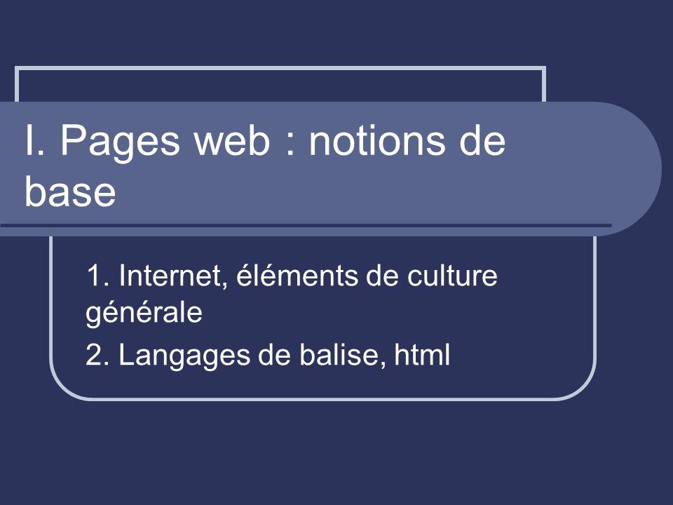 I.Internet, éléments de culture générale Je navigue sur Internet...