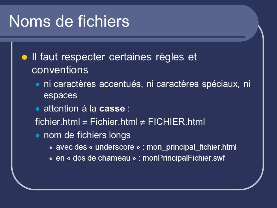 Noms de fichiers Il faut respecter certaines règles et conventions ni caractères accentués, ni caractères spéciaux, ni espaces attention à la casse : fichier.html Fichier.html FICHIER.html nom de fichiers longs avec des « underscore » : mon_principal_fichier.html en « dos de chameau » : monPrincipalFichier.swf