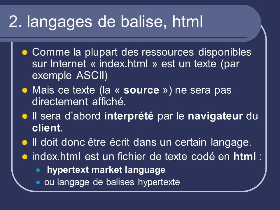 2. langages de balise, html Comme la plupart des ressources disponibles sur Internet « index.html » est un texte (par exemple ASCII) Mais ce texte (la