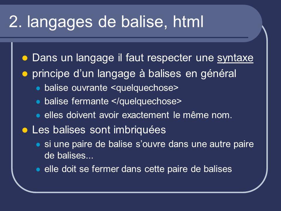 2. langages de balise, html Dans un langage il faut respecter une syntaxe principe dun langage à balises en général balise ouvrante balise fermante el
