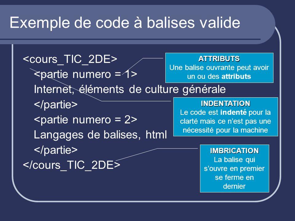 Exemple de code à balises valide Internet, éléments de culture générale Langages de balises, html ATTRIBUTS Une balise ouvrante peut avoir un ou des a