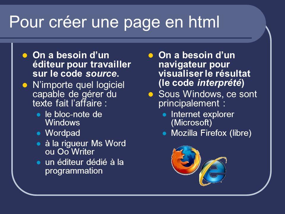 Pour créer une page en html On a besoin dun éditeur pour travailler sur le code source. Nimporte quel logiciel capable de gérer du texte fait laffaire