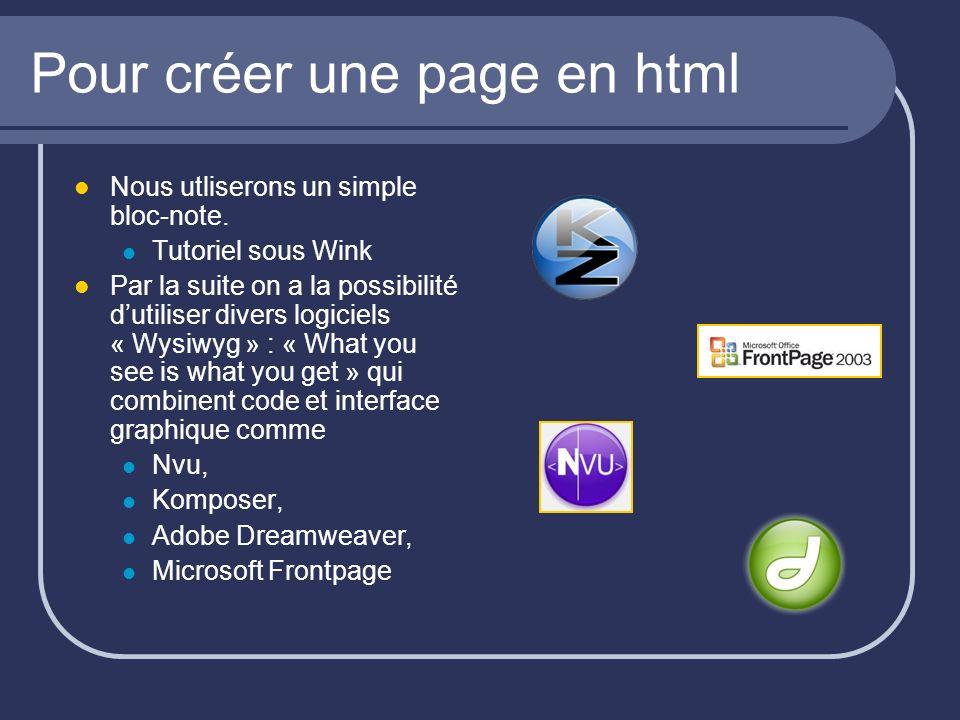 Pour créer une page en html Nous utliserons un simple bloc-note. Tutoriel sous Wink Par la suite on a la possibilité dutiliser divers logiciels « Wysi