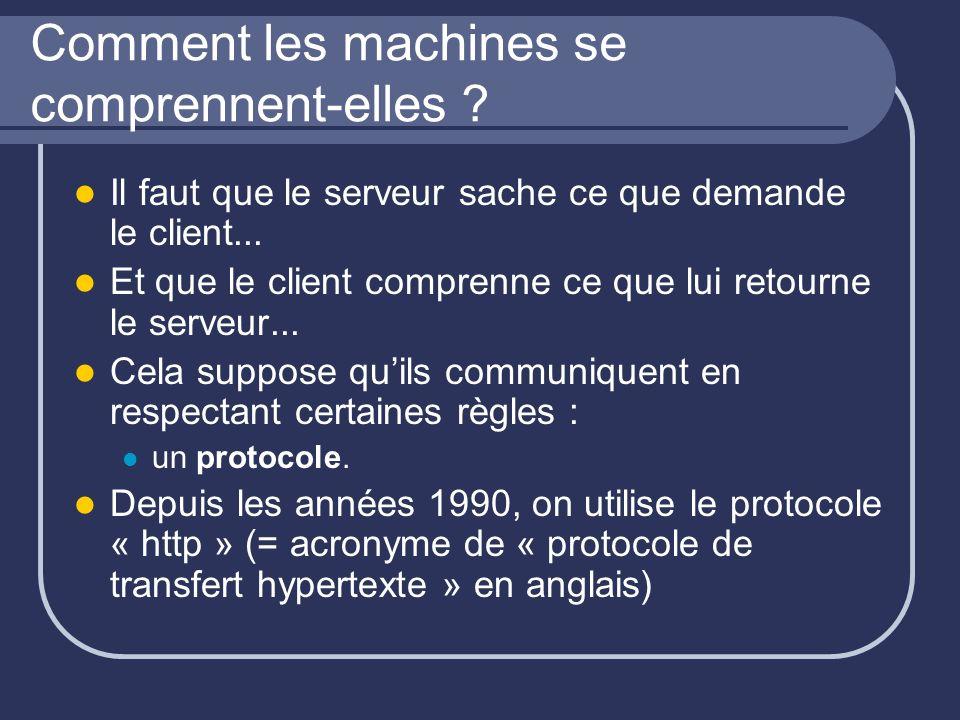 Comment les machines se comprennent-elles ? Il faut que le serveur sache ce que demande le client... Et que le client comprenne ce que lui retourne le