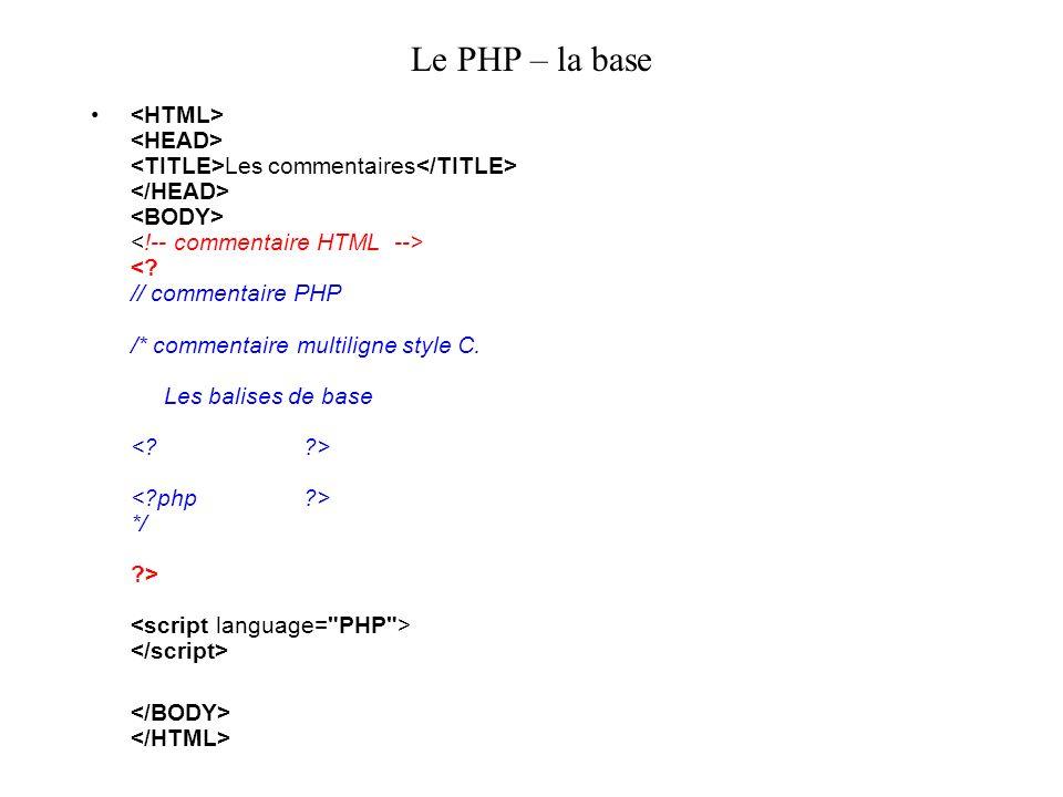 Le PHP – la base Les commentaires */ >