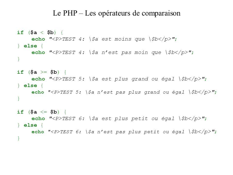 Le PHP – Les opérateurs de comparaison if ($a TEST 4: \$a est moins que \$b ; } else { echo TEST 4: \$a nest pas moin que \$b ; } if ($a >= $b) { echo TEST 5: \$a est plus grand ou égal \$b ; } else { echo TEST 5: \$a nest pas plus grand ou égal \$b ; } if ($a TEST 6: \$a est plus petit ou égal \$b ; } else { echo TEST 6: \$a nest pas plus petit ou égal \$b ; }