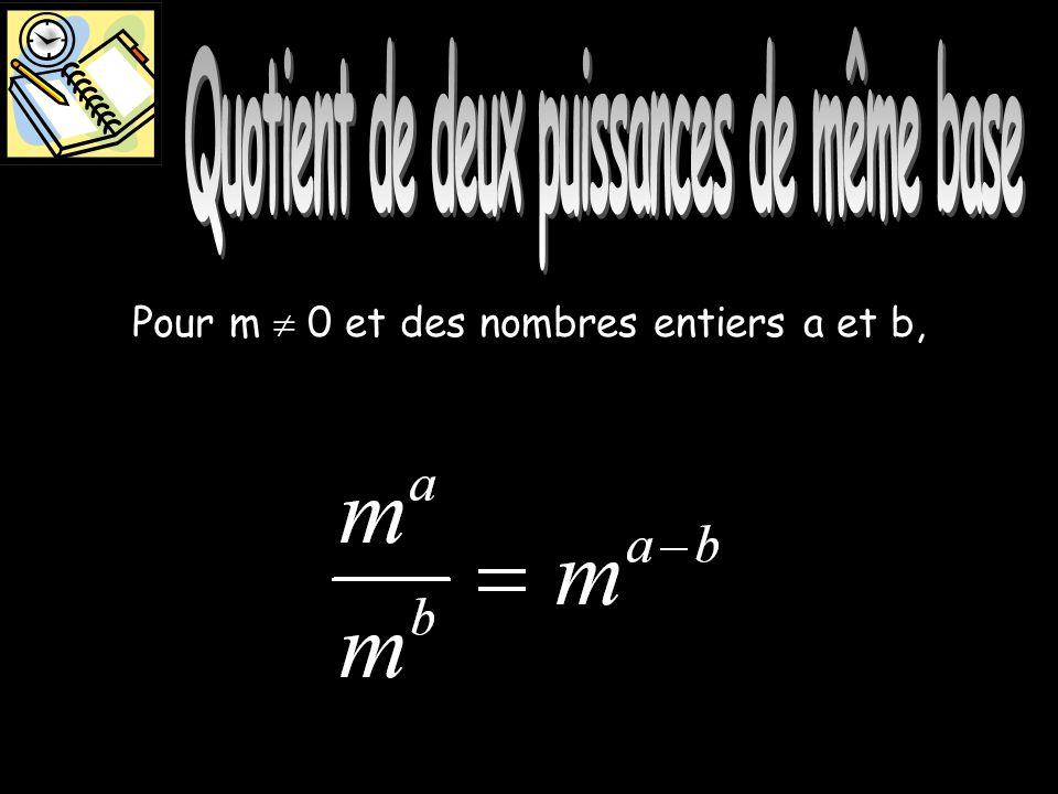 Quotient de deux puissances Pour m 0 et des nombres entiers a et b,