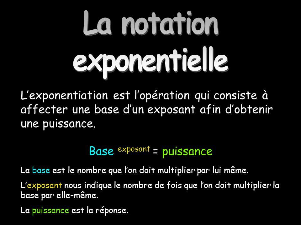 La notation exponentielle Lexponentiation est lopération qui consiste à affecter une base dun exposant afin dobtenir une puissance. Base exposant = pu