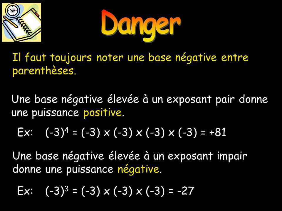 Une base négative élevée à un exposant pair donne une puissance positive. Danger Il faut toujours noter une base négative entre parenthèses. Une base