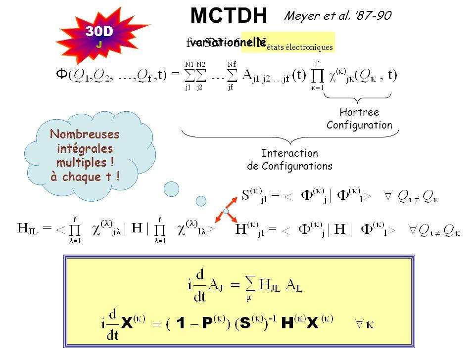 Approches Semi-Classiques ( Hemi-Quantiques, Mixtes : Classique-Quantique) Noyaux : Mouvements classiques Electrons : Mécanique quantique Séparation non exclusive une partie des degrés de liberté nucléaires peut être traitée quantiquement et les autres classiquement Dans ce cas, problématique multi-surface semblable Noyaux : Trajectoire(s) classique(s) Electrons : Equation de Schrödinger dépendant du temps