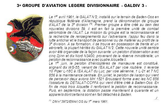 3 e GROUPE D'AVIATION LEGERE DIVISIONNAIRE - GALDIV 3 - Le 1 er avril 1961, le GALAT N°2, installé sur le terrain de Baden-Oos en république fédérale
