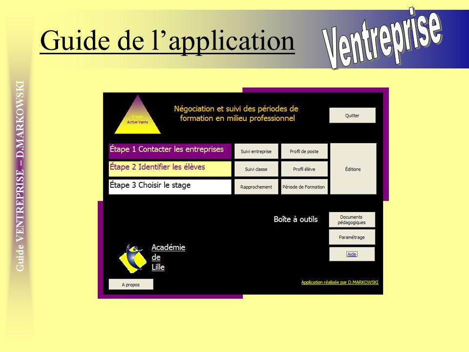 Guide VENTREPRISE – D.MARKOWSKI Le menu contextuel Utiliser le clic droit de la souris pour afficher le menu contextuel Sur un champ de saisie, il permet de –Ne retenir que le champ en cours –De lexclure –De trier sur celui-ci Sur lentête dun formulaire, –De modifier la structure du formulaire * –daccéder à un filtre –De rétablir tous les enregistrements Sur les éditions –De modifier la structure de létat dédition * –De changer laperçu –Dimprimer –De paramétrer la mise en page –Dexporter lédition MANIPULER * Se former à Access © au préalable² ]