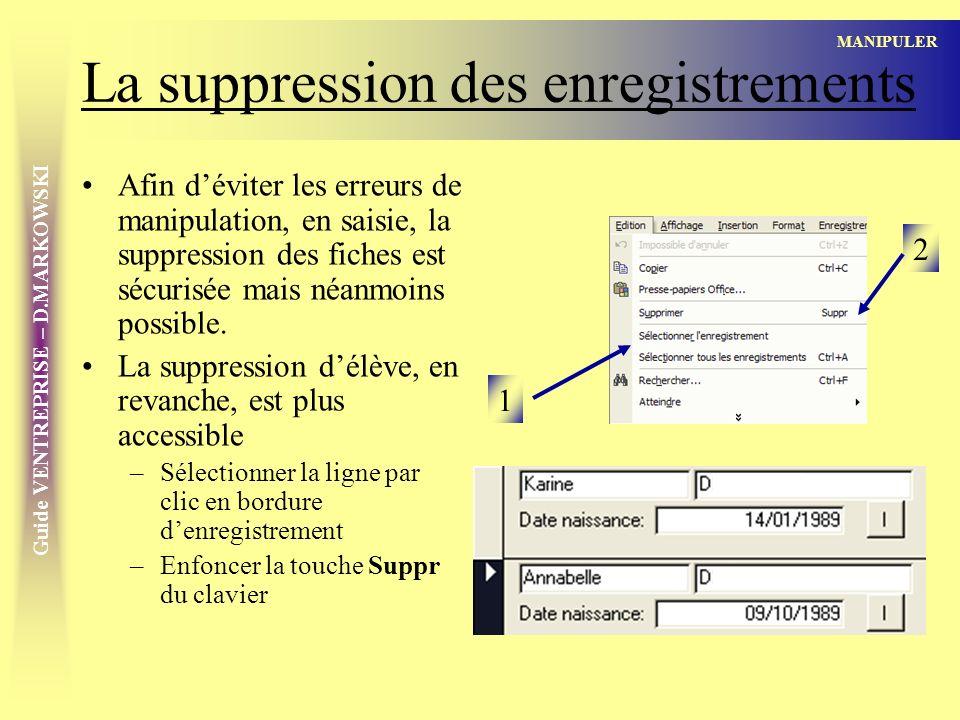 Guide VENTREPRISE – D.MARKOWSKI La suppression des enregistrements Afin déviter les erreurs de manipulation, en saisie, la suppression des fiches est sécurisée mais néanmoins possible.