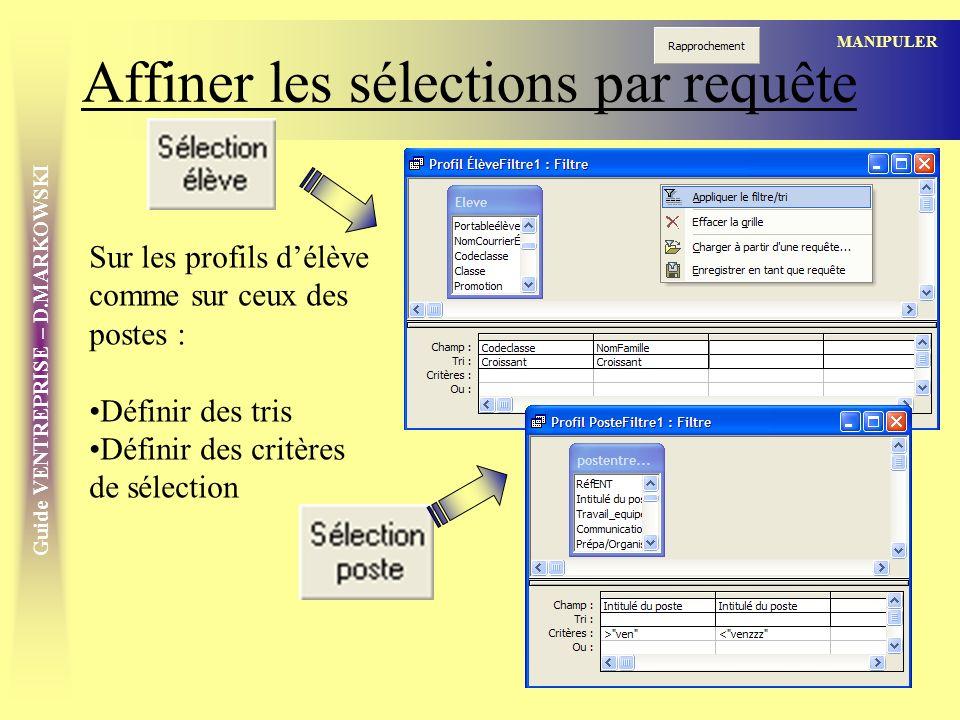 Guide VENTREPRISE – D.MARKOWSKI Affiner les sélections par requête MANIPULER Sur les profils délève comme sur ceux des postes : Définir des tris Définir des critères de sélection