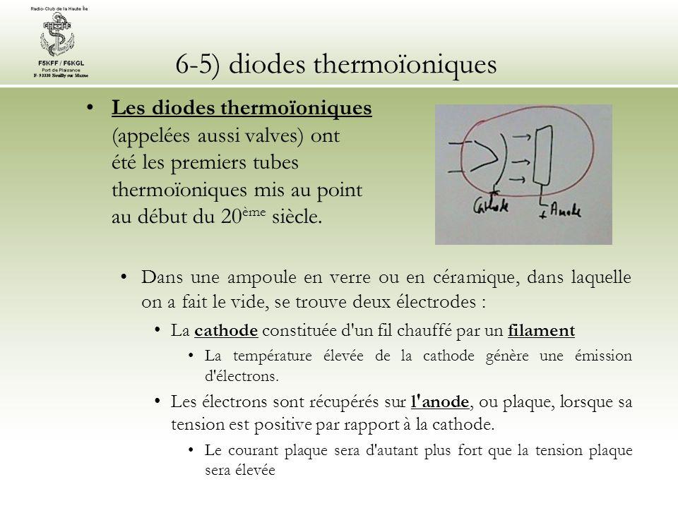 6-5) diodes thermoïoniques Les diodes thermoïoniques (appelées aussi valves) ont été les premiers tubes thermoïoniques mis au point au début du 20 ème siècle.