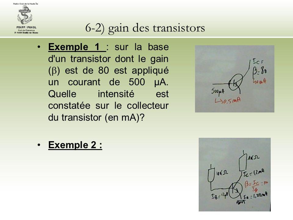 6-2) gain des transistors Exemple 1 : sur la base d'un transistor dont le gain ( ) est de 80 est appliqué un courant de 500 µA. Quelle intensité est c