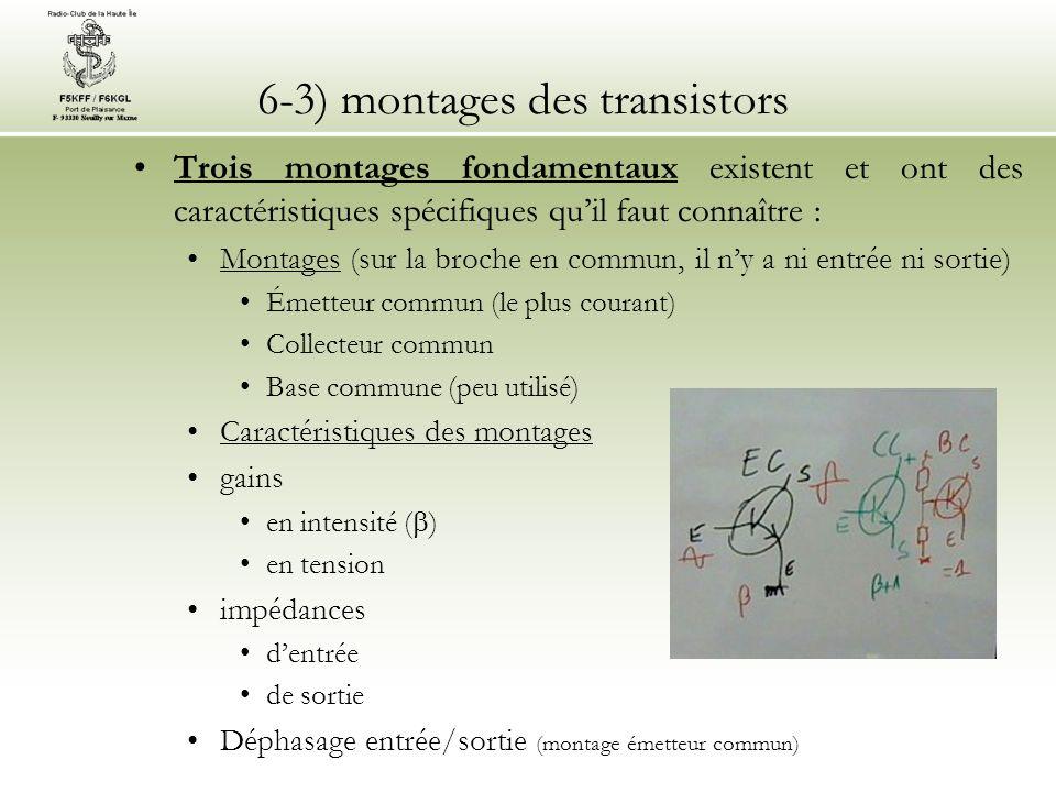 6-3) montages des transistors Trois montages fondamentaux existent et ont des caractéristiques spécifiques quil faut connaître : Montages (sur la broc