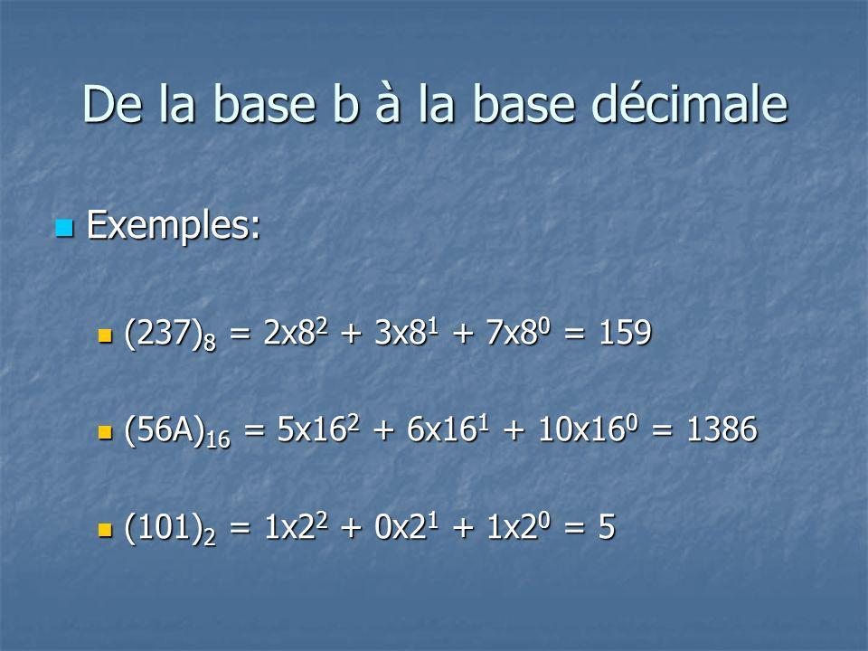 De la base b à la base décimale n Exemples: (237) 8 = 2x8 2 + 3x8 1 + 7x8 0 = 159 (237) 8 = 2x8 2 + 3x8 1 + 7x8 0 = 159 (56A) 16 = 5x16 2 + 6x16 1 + 10x16 0 = 1386 (56A) 16 = 5x16 2 + 6x16 1 + 10x16 0 = 1386 (101) 2 = 1x2 2 + 0x2 1 + 1x2 0 = 5 (101) 2 = 1x2 2 + 0x2 1 + 1x2 0 = 5