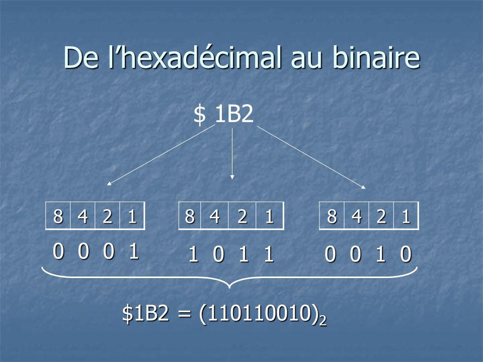 De lhexadécimal au binaire 8421 $ 1B284218421 0 0 0 1 1 0 1 1 0 0 1 0 $1B2 = (110110010) 2 $1B2 = (110110010) 2