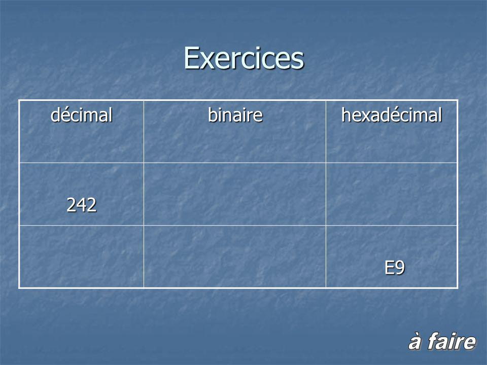 Exercicesdécimalbinairehexadécimal242 E9 E9