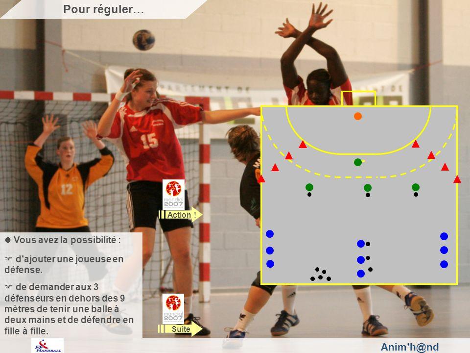 Animh@nd Vous avez la possibilité : dajouter une joueuse en défense. de demander aux 3 défenseurs en dehors des 9 mètres de tenir une balle à deux mai