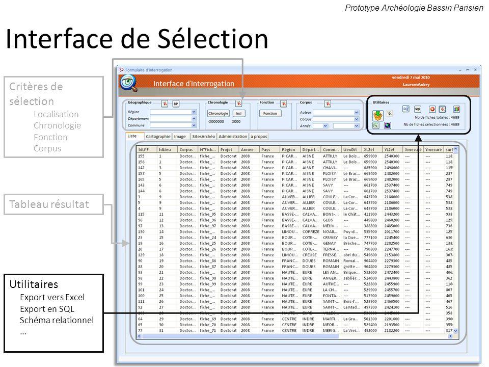 Prototype Archéologie Bassin Parisien Critères de sélection Localisation Chronologie Fonction Corpus Tableau résultat Utilitaires Export vers Excel Ex