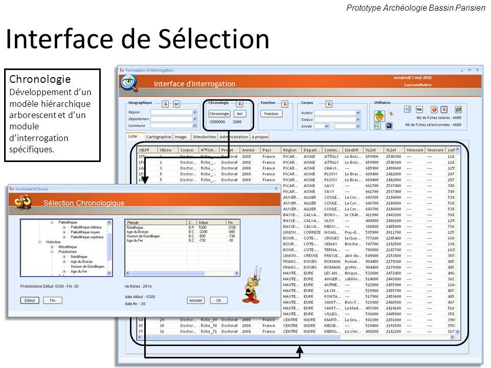 Prototype Archéologie Bassin Parisien Chronologie Développement dun modèle hiérarchique arborescent et dun module dinterrogation spécifiques. Interfac