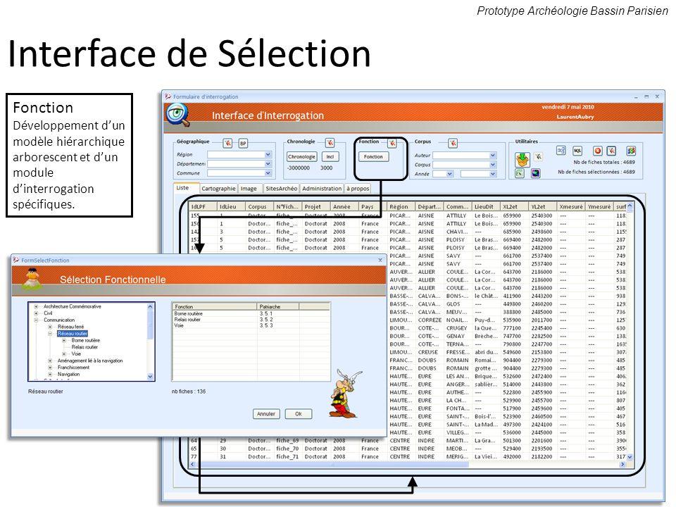 Prototype Archéologie Bassin Parisien Fonction Développement dun modèle hiérarchique arborescent et dun module dinterrogation spécifiques. Interface d