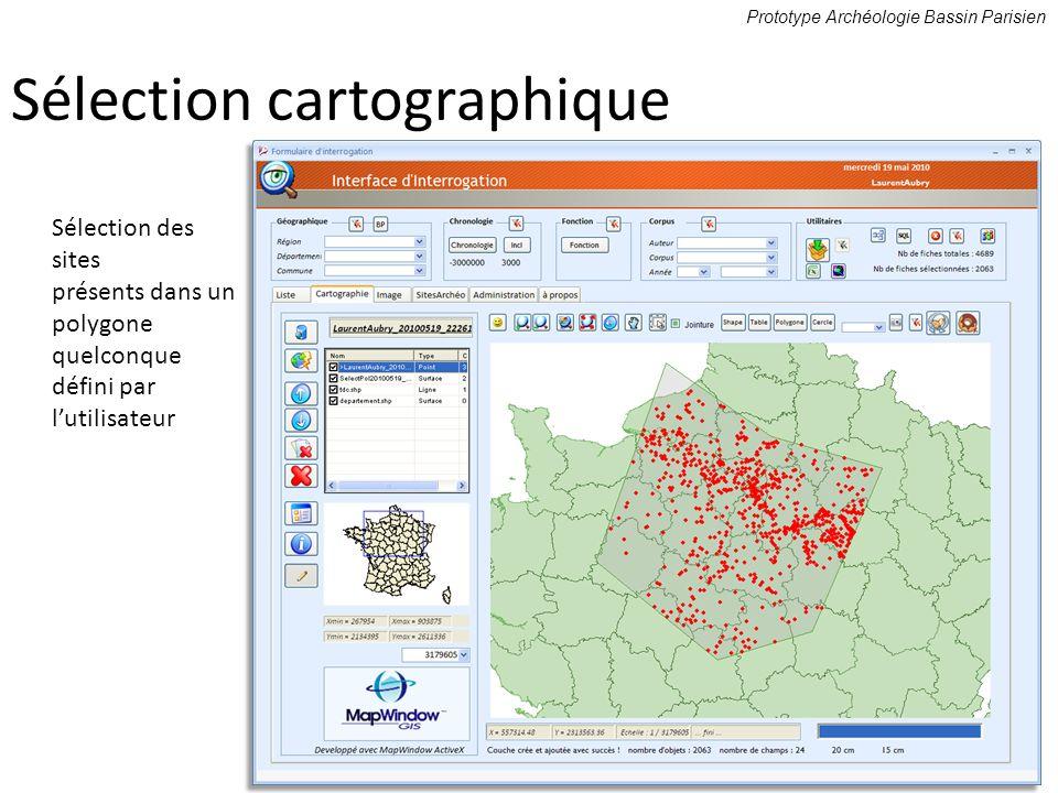Sélection des sites présents dans un polygone quelconque défini par lutilisateur Prototype Archéologie Bassin Parisien Sélection cartographique