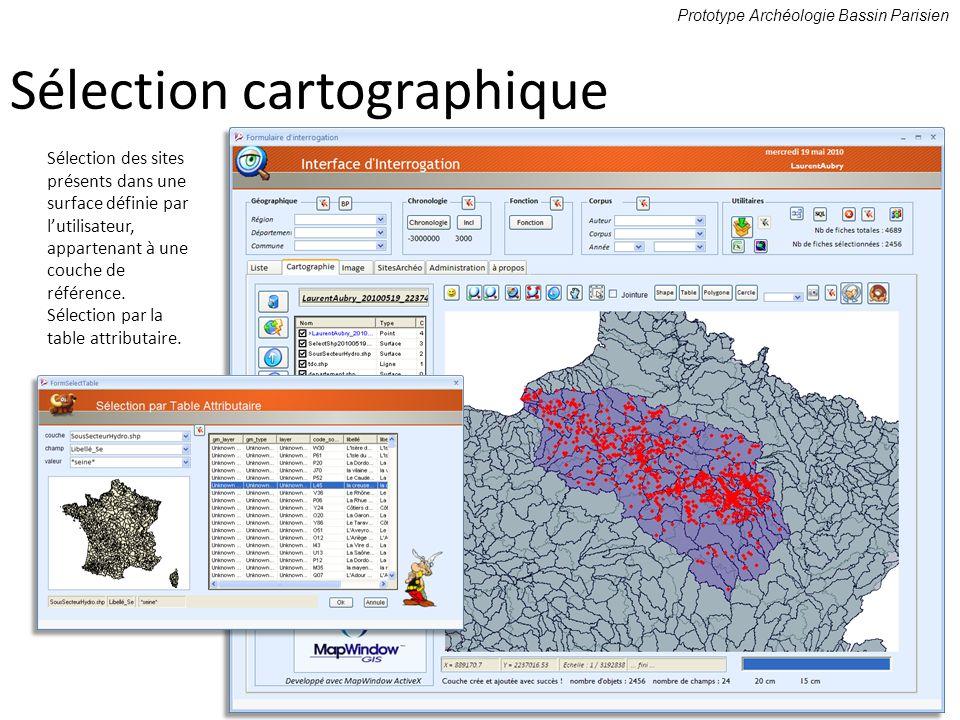 Sélection des sites présents dans une surface définie par lutilisateur, appartenant à une couche de référence. Sélection par la table attributaire. Pr