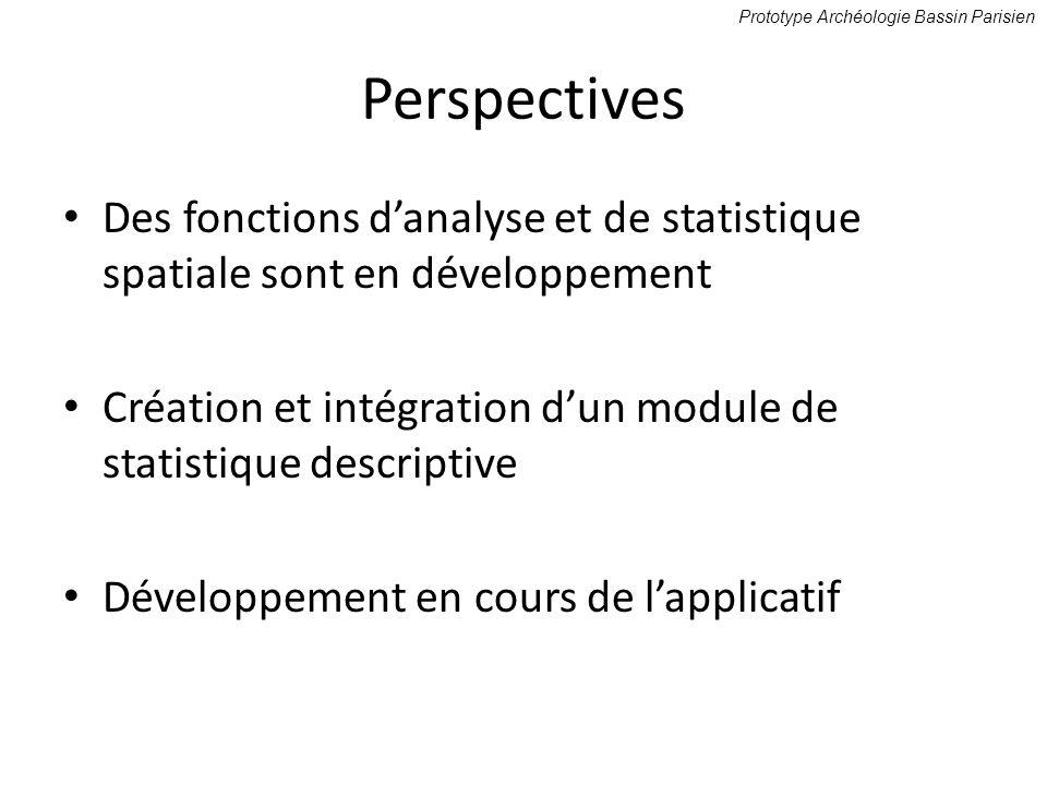 Perspectives Des fonctions danalyse et de statistique spatiale sont en développement Création et intégration dun module de statistique descriptive Dév